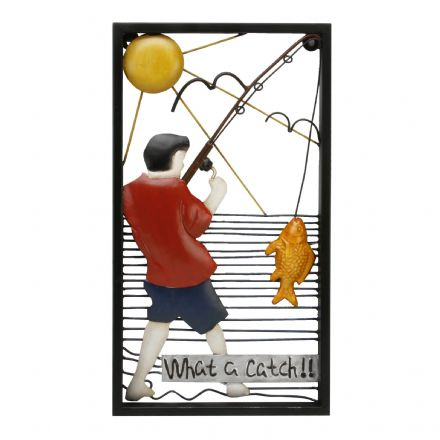 Fisherman Metal Wall Art ~ What A Catch